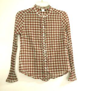 J Crew Ruffle Front Red Plaid Button Down Shirt